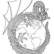 Coloriage du dragon du Monde - Coloriage - Coloriage MANDALA - MANDALAS DE DRAGONS à colorier