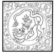 Mandala : Coloriage du dragon et la perle du bonheur