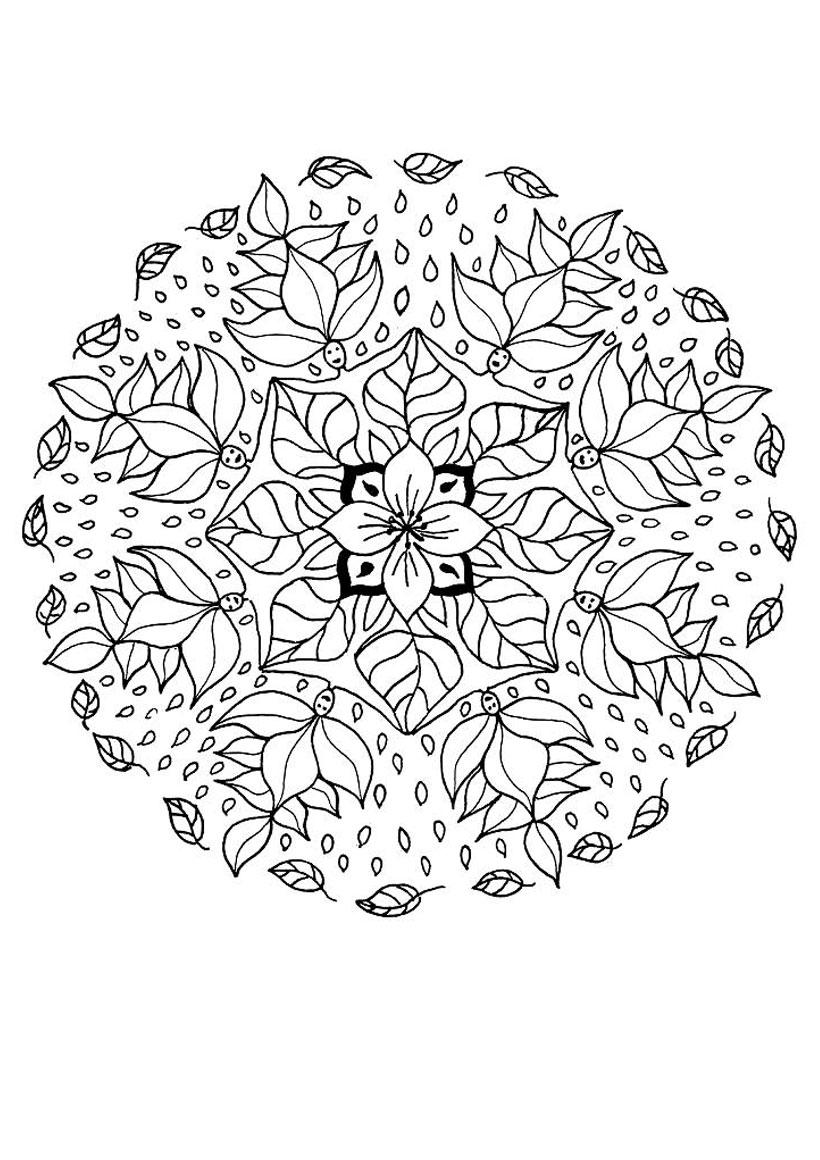 Mandala : Coloriage des elfes des fleurs