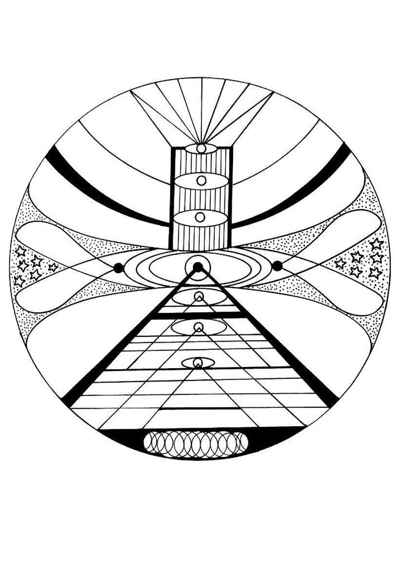 Coloriage d'un mandala cosmique