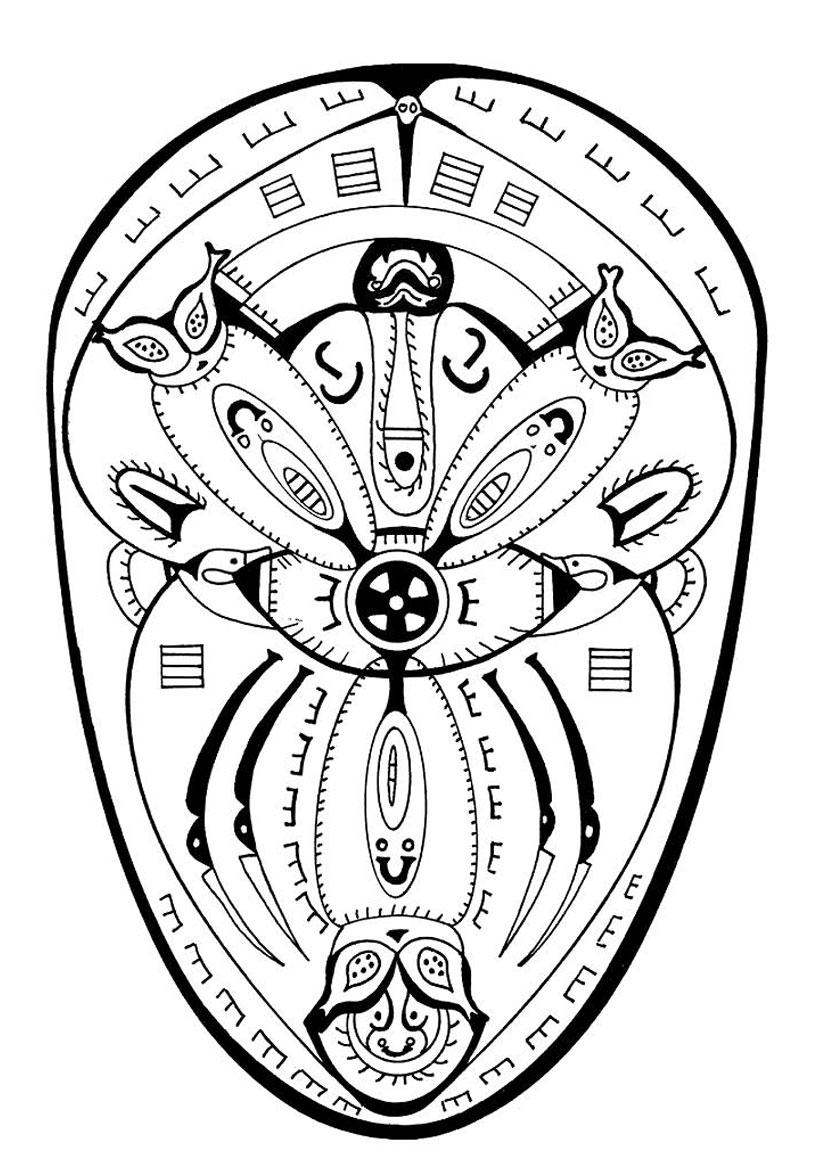 Coloriage d'un mandala de polynésie (protection)