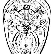 Coloriage d'un mandala de Polynésie (protection) - Coloriage - Coloriage MANDALA - MANDALAS DU MONDE à colorier