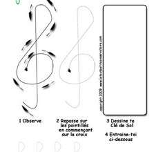 Dessine la clef de sol - Coloriage - Coloriage GRATUIT - Coloriage INSTRUMENTS DE MUSIQUE
