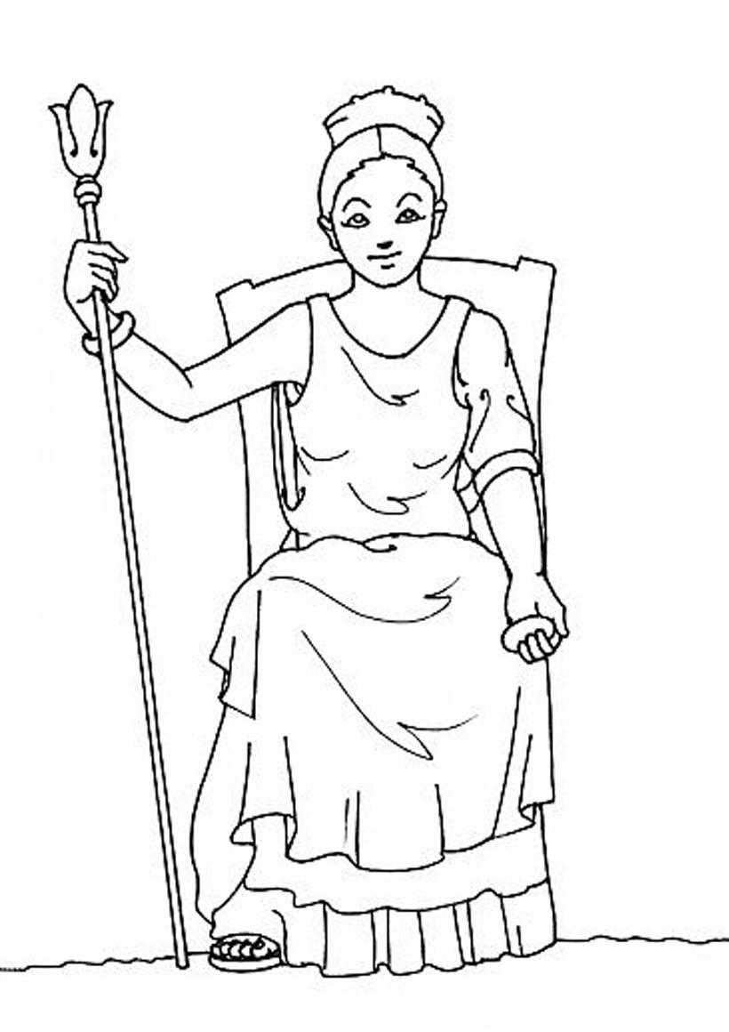 Coloriages coloriage de la déesse héra - fr.hellokids.com Hera Drawing Easy