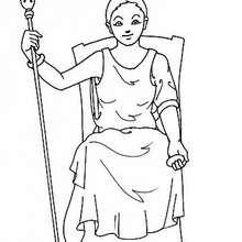 Coloriage de la déesse Héra - Coloriage - Coloriage HISTOIRE ET PAYS - Coloriage MYTHOLOGIE GRECQUE
