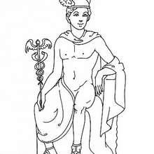 Coloriage du dieu grec Hermès - Coloriage - Coloriage HISTOIRE ET PAYS - Coloriage MYTHOLOGIE GRECQUE