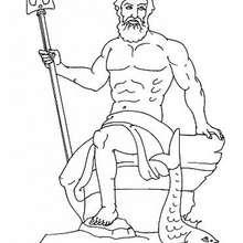 Coloriage du dieu grec Poséidon - Coloriage - Coloriage HISTOIRE ET PAYS - Coloriage MYTHOLOGIE GRECQUE