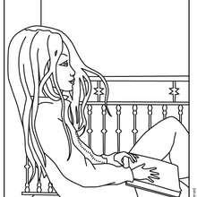 Coloriage de Jeanne rêveuse - Coloriage - Coloriage PERSONNAGE BD - Coloriage JEANNE POESIE