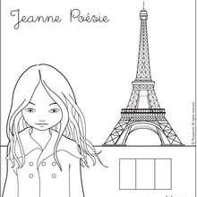 Coloriage de Jeanne devant la Tour Eiffel - Coloriage - Coloriage PERSONNAGE BD - Coloriage JEANNE POESIE