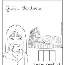 Coloriage de Giulia à Rome - Coloriage - Coloriage PERSONNAGE BD - Coloriage JEANNE POESIE