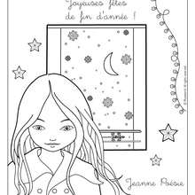 Coloriage de Jeanne Posie  Nol - Coloriage - Coloriage PERSONNAGE BD - Coloriage JEANNE POESIE