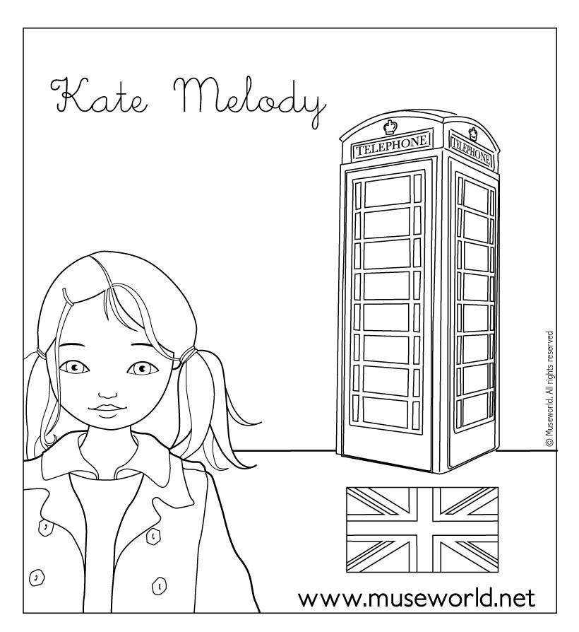 Coloriages Coloriage De Kate A Londres Fr Hellokids Com