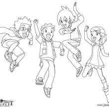 Toby, Jessica, Nick et Lucas en action ! - Coloriage - Coloriage GORMITI - L'ERE DE L'ECLIPSE SUPREME - Coloriage GORMITI - Coloriage ENFANTS - Coloriage ENFANTS GORMITI