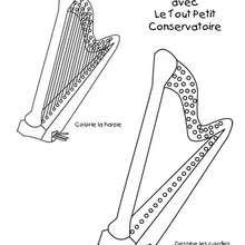 Dessine la Harpe - Coloriage - Coloriage GRATUIT - Coloriage INSTRUMENTS DE MUSIQUE