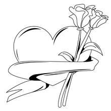 Coloriage d'un coeur et d'une rose - Coloriage - Coloriage FETES - Coloriage SAINT VALENTIN - Coloriage ROSE SAINT VALENTIN