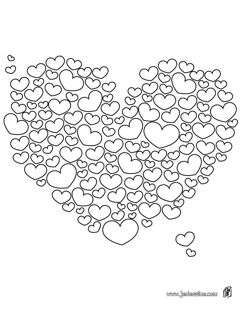 Coloriages coloriage d 39 un coeur rempli de petits coeurs - Image de coeur a colorier ...