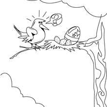 Coloriage de l'oeuf de Pâques dans un nid - Coloriage - Coloriage FETES - Coloriage PAQUES - Coloriage OEUF DE PAQUES