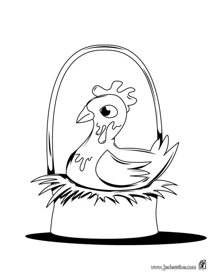 Coloriages coloriage d'une poule de pâques sur son nid ...