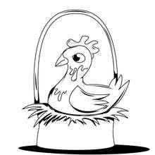 Coloriage d'une poule de Pâques sur son nid