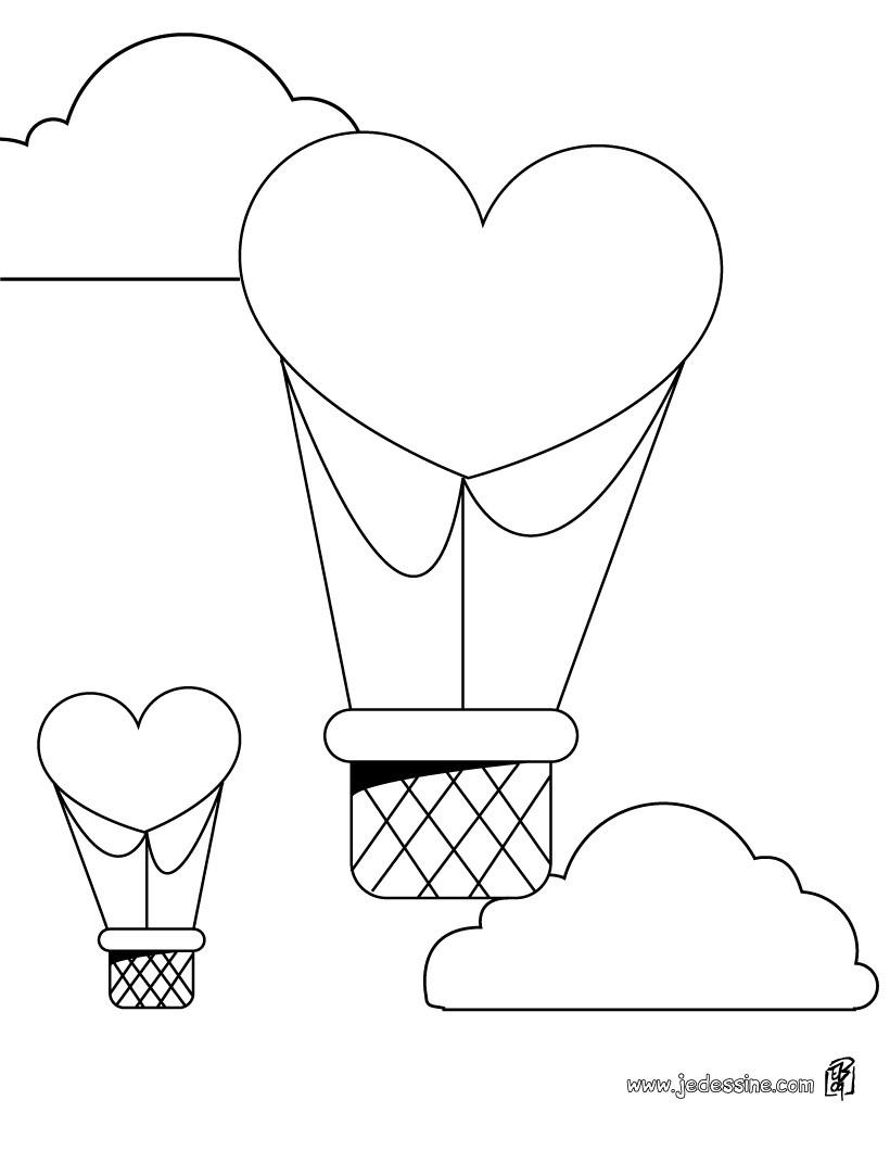 Coloriage d une montgolfi¨re en forme de coeur