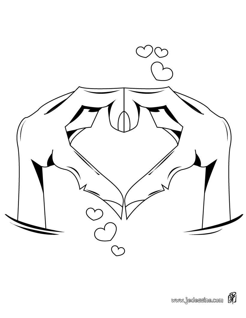 Coloriage d un coeur dessiné avec les mains