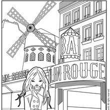 Coloriage de Jeanne Posie devant le Moulin Rouge - Coloriage - Coloriage PERSONNAGE BD - Coloriage JEANNE POESIE