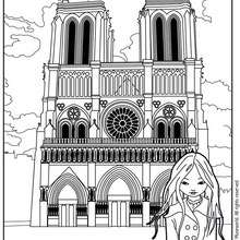 Coloriage de Jeanne Poésie devant Notre Dame - Coloriage - Coloriage PERSONNAGE BD - Coloriage JEANNE POESIE