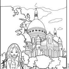 Coloriage de Jeanne Posie devant Le Sacr Coeur - Coloriage - Coloriage PERSONNAGE BD - Coloriage JEANNE POESIE