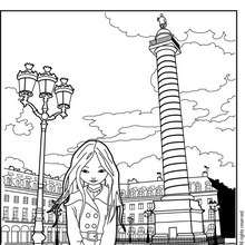 Coloriage de Jeanne Posie devant la Place Vendme - Coloriage - Coloriage PERSONNAGE BD - Coloriage JEANNE POESIE