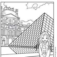 Coloriage de Jeanne Poésie devant le Louvre - Coloriage - Coloriage PERSONNAGE BD - Coloriage JEANNE POESIE