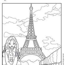  Coloriage de Jeanne Posie devant le champs de Mars - Coloriage - Coloriage PERSONNAGE BD - Coloriage JEANNE POESIE