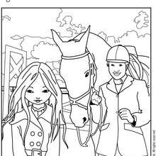 Coloriage de Jeanne Posie avec un professeur d'ducation - Coloriage - Coloriage PERSONNAGE BD - Coloriage JEANNE POESIE
