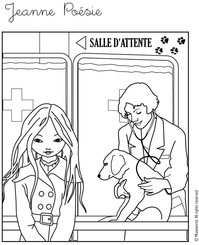 Coloriage de Jeanne Poésie avec un vétérinaire