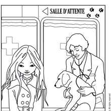 Coloriage de Jeanne Poésie avec un vétérinaire - Coloriage - Coloriage PERSONNAGE BD - Coloriage JEANNE POESIE