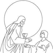 Coloriage de Jésus qui partage le pain