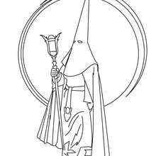 Coloriage : Un pénitent lors d'une procession espagnole (Semana Santa)
