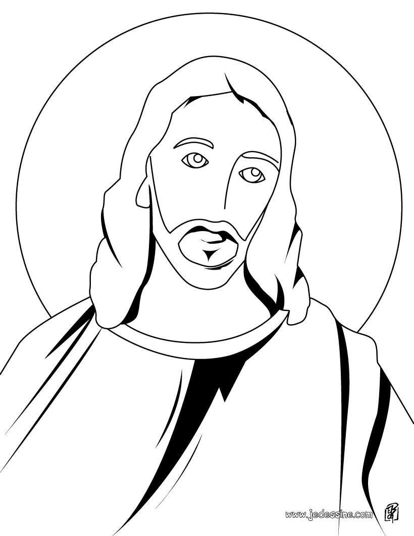 coloriage du portrait de jsus christ