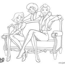 Sam, Alex et Clover au WOOHP - Coloriage - Coloriage TOTALLY SPIES - Coloriage TOTALLY SPIES! A IMPRIMER