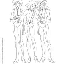 Sam, Alex et Clover - Coloriage - Coloriage TOTALLY SPIES - Coloriage TOTALLY SPIES! A IMPRIMER
