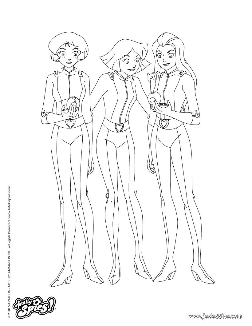 Coloriages alex sam et clover - Totally spies coloriage ...