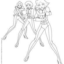 Sam, Alex et Clover se défendent - Coloriage - Coloriage TOTALLY SPIES - Coloriage TOTALLY SPIES! A IMPRIMER