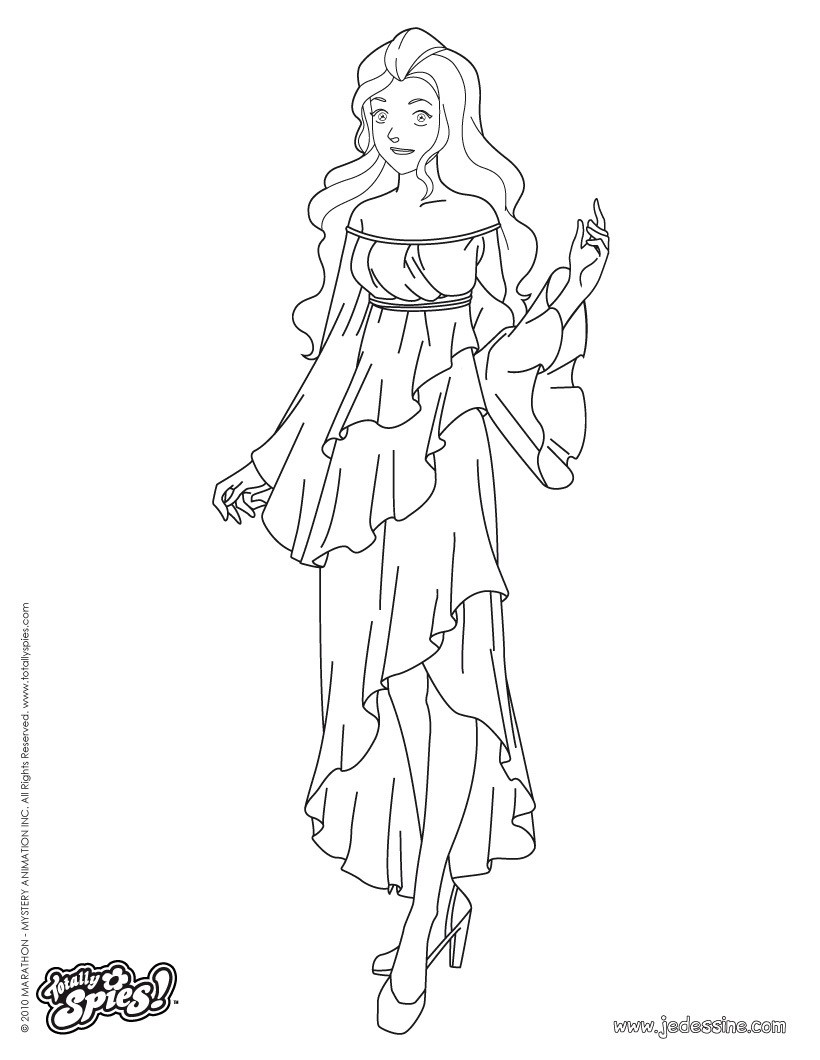 Sam en robe de soirée Coloriage Coloriage TOTALLY SPIES Coloriage SAM