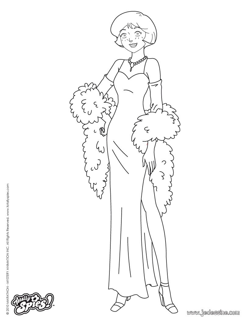 Coloriages alex en robe de soir e - Totally spies coloriage ...