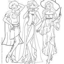 Sam, Alex et Clover à Halloween - Coloriage - Coloriage TOTALLY SPIES - Coloriage TOTALLY SPIES! GRATUIT