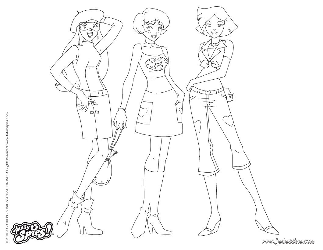 Sam Alex et Clover Fashion 6 Coloriage Coloriage TOTALLY SPIES Coloriage