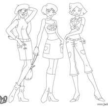 Sam, Alex et Clover - Fashion 6 - Coloriage - Coloriage TOTALLY SPIES - Coloriage TOTALLY SPIES! GRATUIT