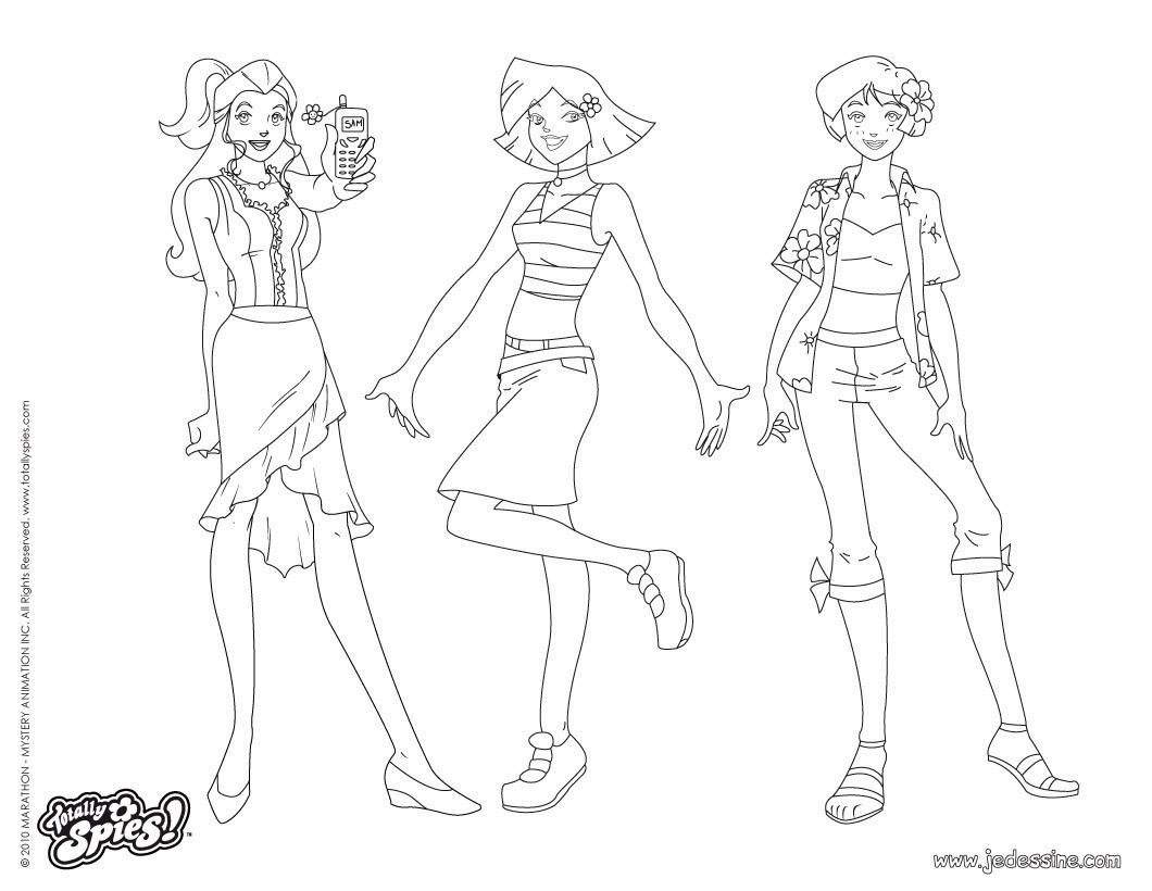 Coloriages sam alex et clover fashion 3 - Totally spies coloriage ...