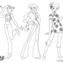 Coloriage : Sam, Alex et Clover - Fashion 1