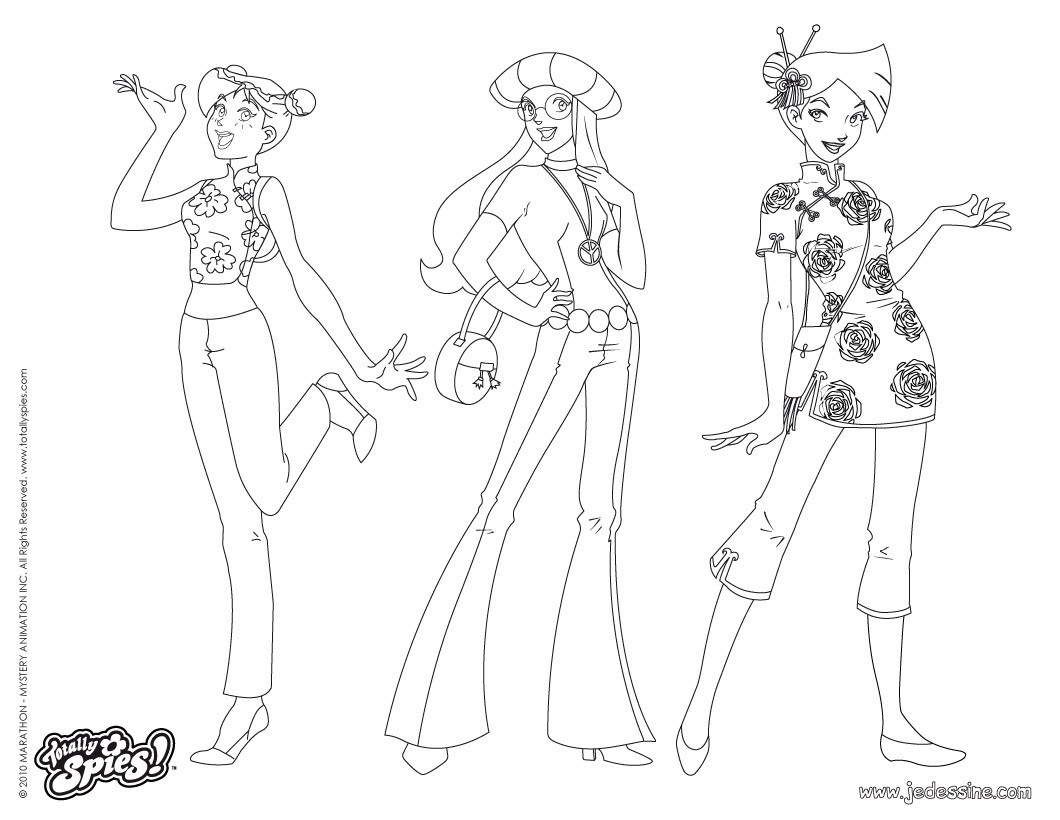Coloriages sam alex et clover fashion 1 - Totally spies coloriage ...