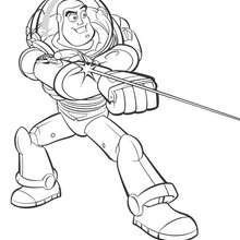 Coloriage Toy Story 3 -  Buzz en action - Coloriage - Coloriage DISNEY - Coloriage DISNEY TOY STORY